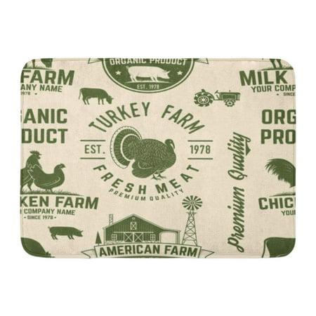 GODPOK American Farm Vintage Design Chicken Pig Cow House Silhouette on The Milk Pork Country Rug Doormat Bath Mat 23.6x15.7 inch