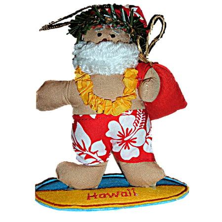 Hawaiian Surfing Surfer Santa Fabric Beach Christmas Ornament ()
