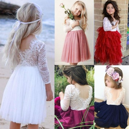 Bridesmaid Set (Fashion Canis Toddler Kids Baby Girls Lace Tulle Party Bridesmaid Pageant Dress Sundress Set)