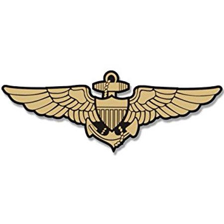 Gold NAVY AVIATOR WINGS Shaped Sticker Decal (logo naval pilot fly aviation) Size: 3 x 6 inch Aviation Pilot Wings