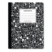 Universal Composition Book, 4 sq/in Quadrille Rule, Black Marble, 9.75 x 7.5, 100 Pages, 6/Pack -UNV20957