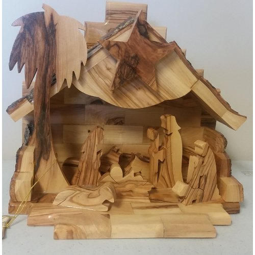 Earthwood LLC Olive Wood Music Box Nativity Scene
