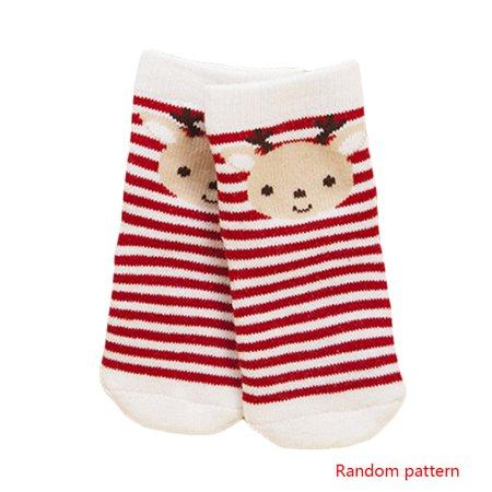 Color Random Christmas Theme Cute Winter Cotton Baby Kid Crew Socks Breathable Moisture Wicking Elastic Mouth