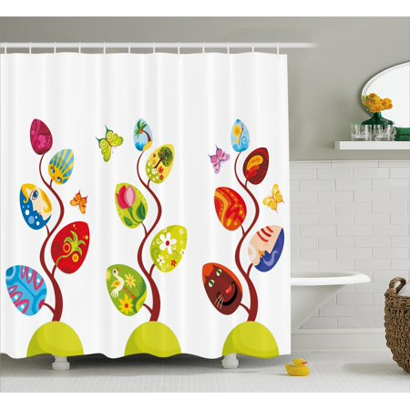 Kids Shower Curtain Set Magic Tree Branches With Diverse Leaves Filled Human And Cat Face Of Life Decor Bathroom Multi By Ambesonne