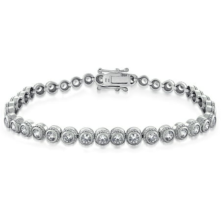 3.4 Carat T.G.W. Cubic Zirconia Sterling Silver Circle Cable Tennis Bracelet