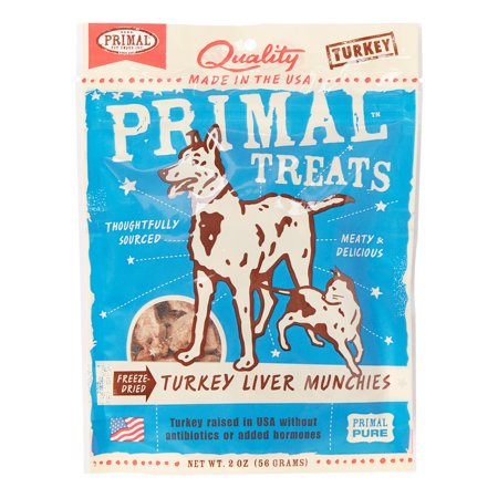 Primal Pet Foods Grain-Free Turkey Liver Munchies Freeze Dried Dog & Cat Treat, 2 oz - Halloween Food Treats