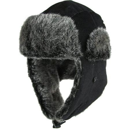 Black Aviator Hat (Black Corduroy Aviator Trapper Hat Winter Cap Ski Warm Fur)