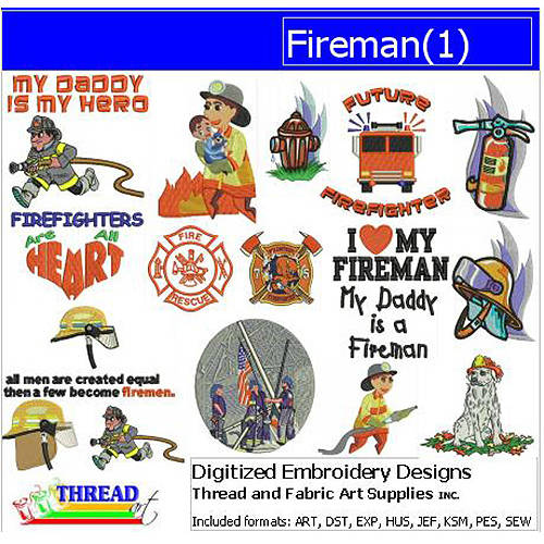 ThreadArt Machine Embroidery Designs Fireman Version 1 CD