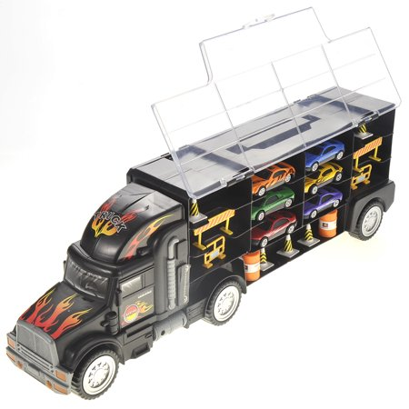 Toy Truck Transport Car Carrier - Includes 6 Toy Cars, Stop Signs and Barriers, 28 Toy Car Slots, 2 Way Plastic Lid, Detachable Front Cab, Handle to Carry - Great Car Toys Gift for Boys and
