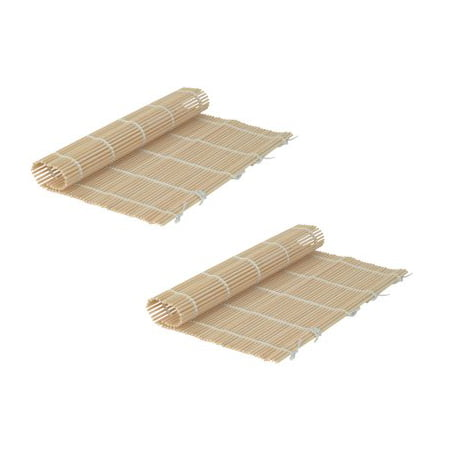 Set Of 2 Japanese Style Sushi Roll Maker Bamboo Rolling Roller Mat Preparation Equipment 24 X 24Cm