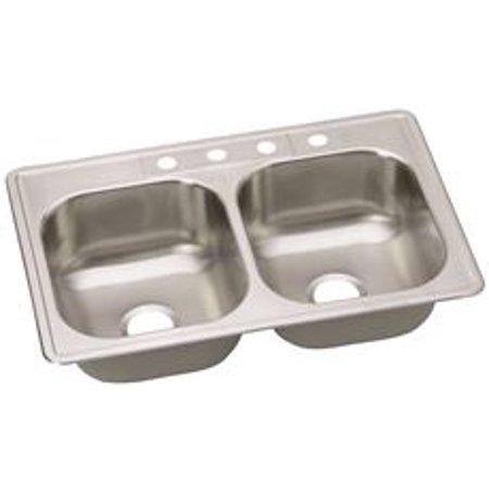 - Elkay Dayton Kitchen Sink, Stainless Steel, 4 Hole, 20 Gauge, 33 In. X 22 In. X 8 In.