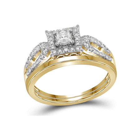 10kt Yellow Gold Womens Princess Diamond Halo Bridal Wedding Engagement Ring Band Set 1/4 Cttw - image 4 de 4