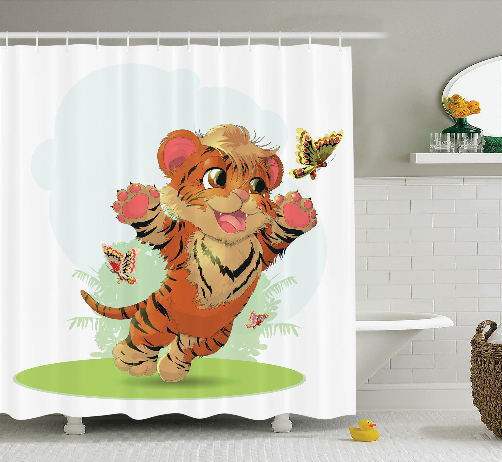 Cartoon Decor  Little Cub Playing With Butterflies In The Meadow Joyful Lively Baby Tiger Cat, Bathroom Accessories, 69W X 84L Inches Extra Long, By Ambesonne