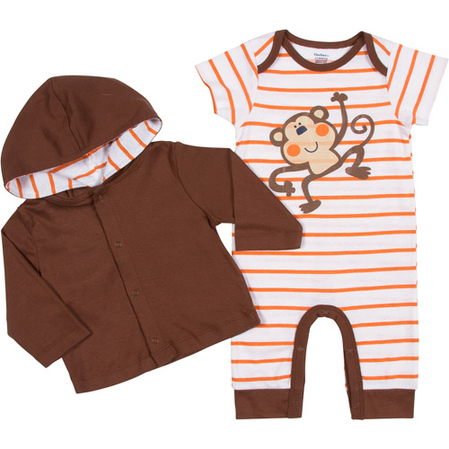 Gerber Newborn Boys' 2 Piece Monkey Jacket and Coverall Set