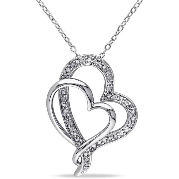 1/4 Carat T.W. Diamond Sterling Silver Double Interlocking Heart Necklace