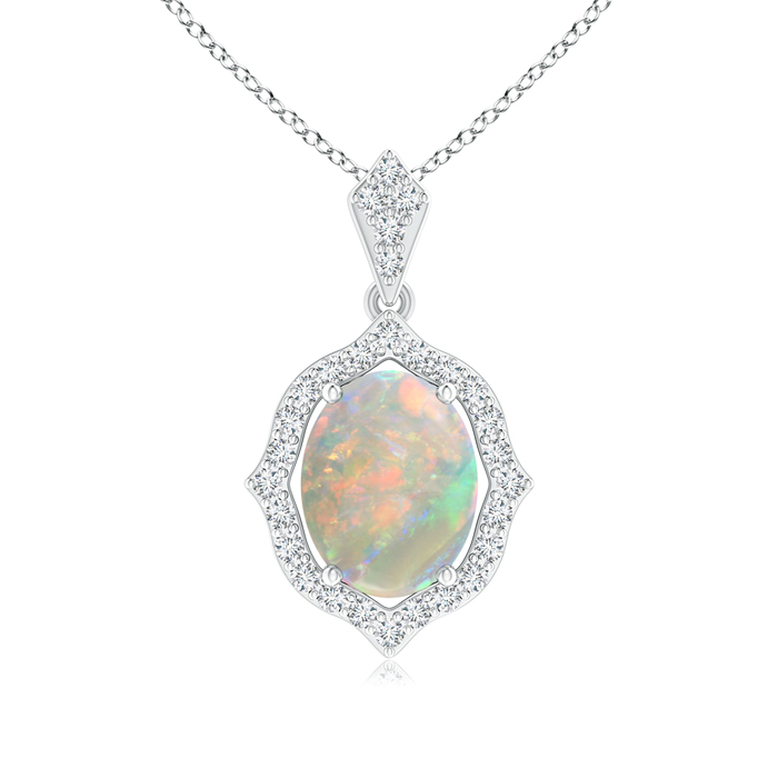 Mother's Day Jewelry Necklace Scalloped Frame Oval Opal and Diamond Halo Pendant in 950 Platinum (9x7mm Opal)... by Angara.com