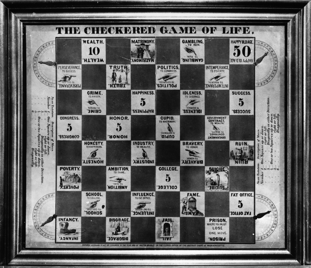 Board Game Life 1863 Nthe Checkered Game Of Life A Milton Bradley Board Game From 1863 Rolled Canvas Art (18 x... by Granger Collection