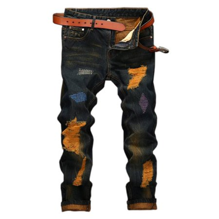 c7307eb9dfb0 JustVH - JustVH Men s Jeans Distressed Ripped Biker Moto Denim Pants Slim  fit Zipper - Walmart.com