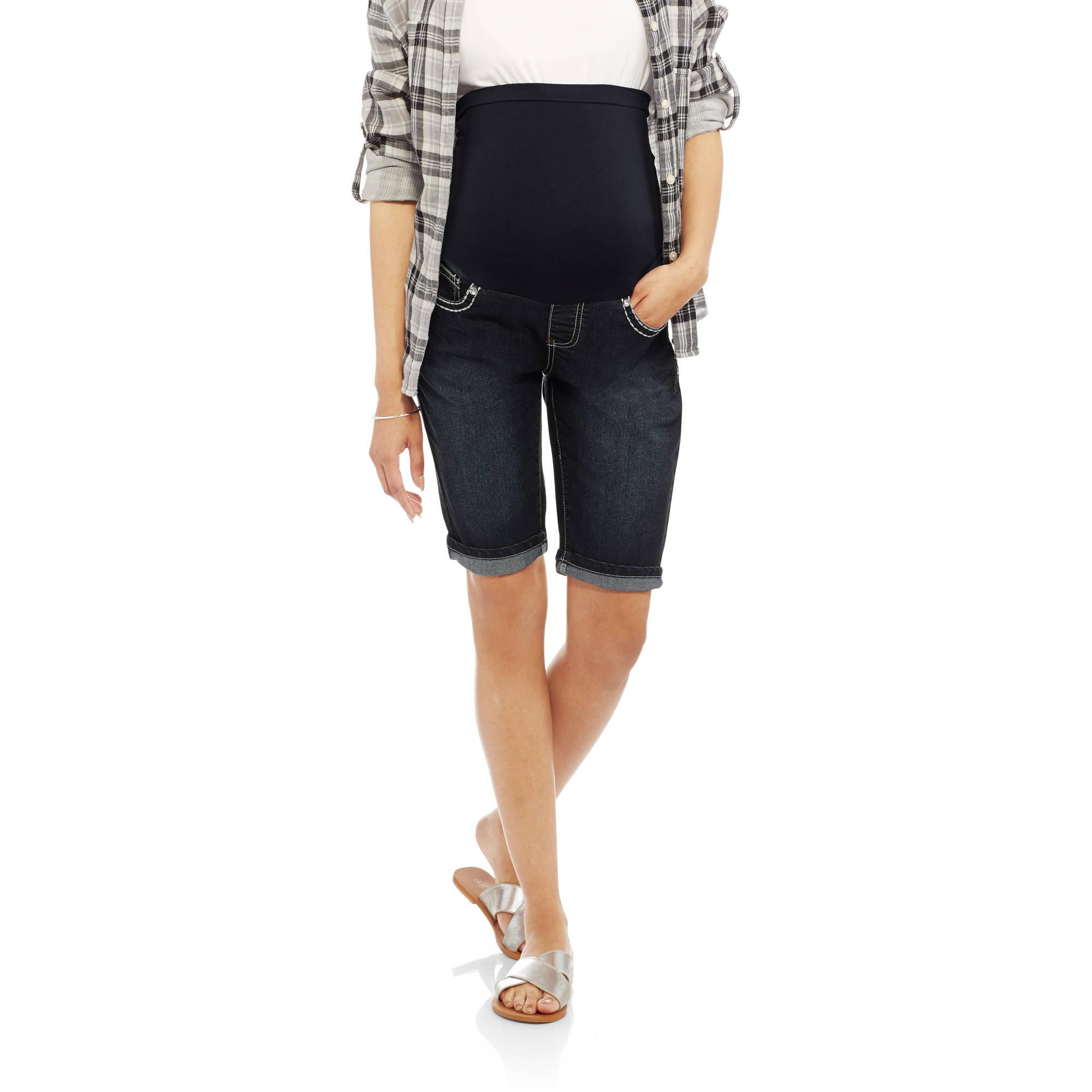 Denim Diva Maternity Full Panel Embellished Flap Back Pocket Shorts - Available in Plus Sizes
