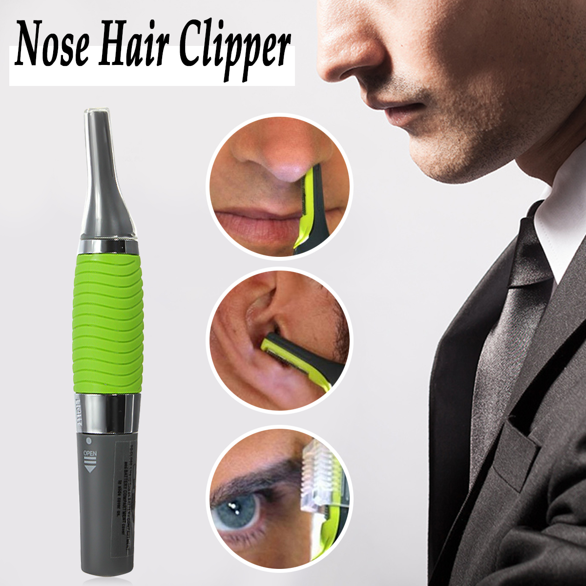 Men's Nose Ear Face Neck Eyebrow Hair Mustache Beard Trimmer Clipper Cleaner Care  with LED Light