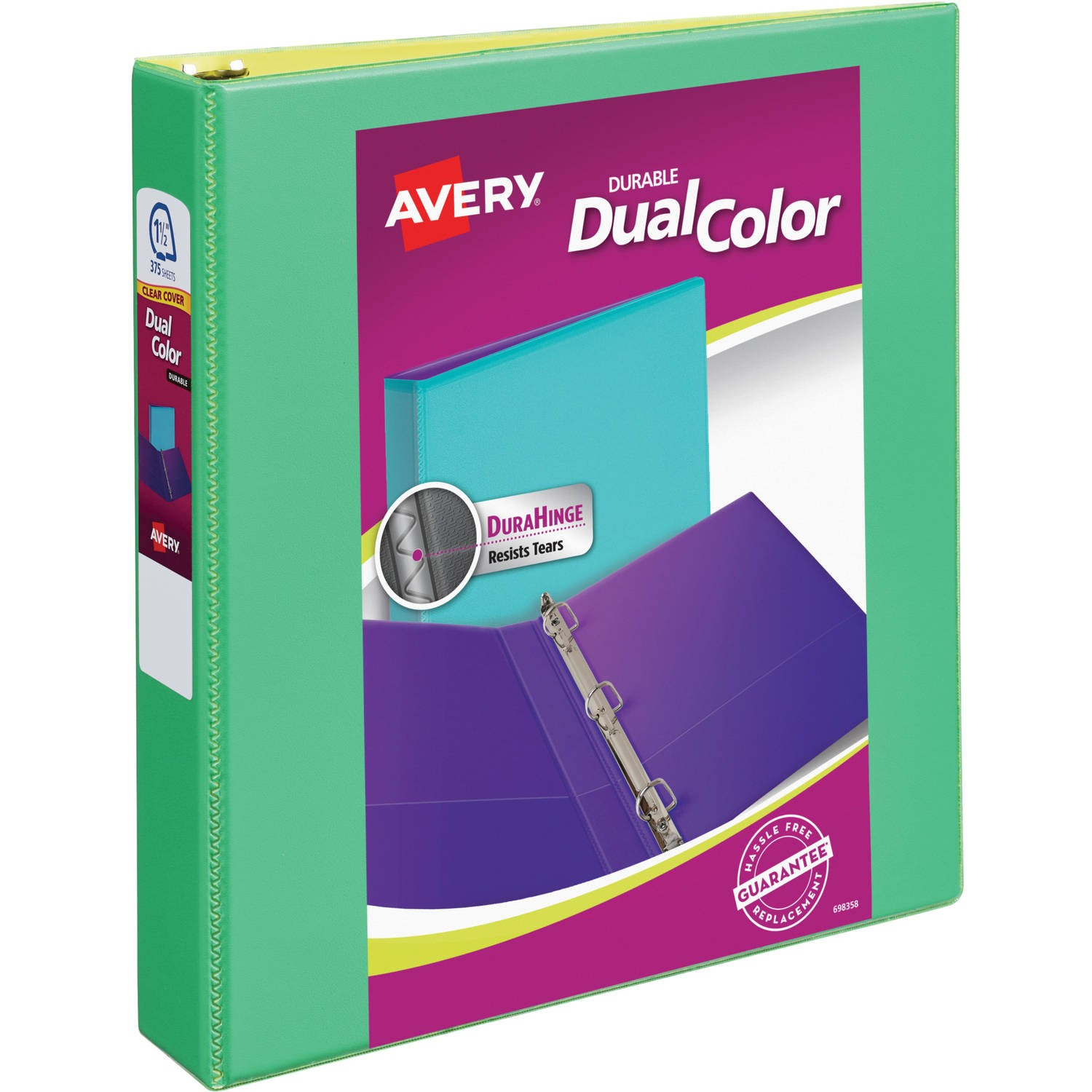 """Avery Durable View Dual Color Binder, 1.5"""", Assorted Colors"""