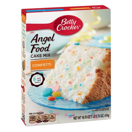 (3 Pack) Betty Crocker Angel Food Confetti Cake Mix, 16.75 oz