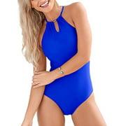 Womens One Piece Push Up Monokini Halterneck Bikini Beachwear Swimsuit Bra Swimwear Swimming Costume Bathing Suit