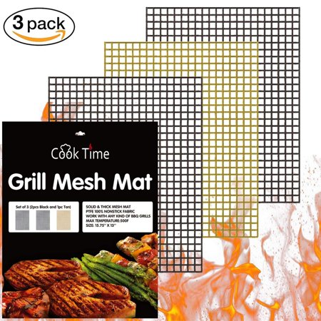 Image of BBQ Grill Mesh Mat Set of 3 Non Stick BBQ Mesh Grill Mats Teflon Grilling Mats Nonstick Fish Vegetable Smoker Mats for Grill - Works on Gas, Charcoal, Electric Barbecue 15.75x13inch(2 black+1 Copper)