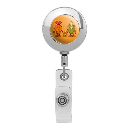 Candy Corn Family Halloween Retractable Reel Premium Metal Chrome Badge ID Card Holder Clip