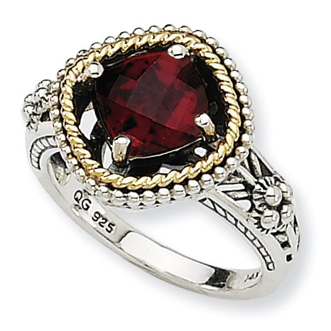 Sterling Silver w 14k Garnet Ring by Saris and Things QG