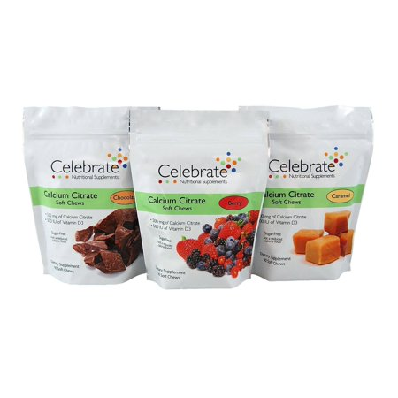 Celebrate Sugar Free Calcium Citrate Soft Chews 500Mg   Available In 3 Flavors
