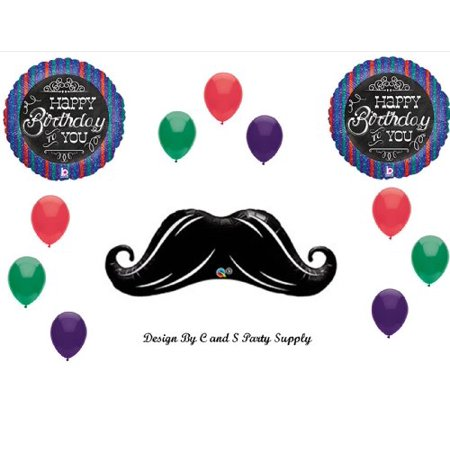 MUSTACHE Chalkboard BIRTHDAY Balloons Decorations Supplies 40th 50th 60th Birthday
