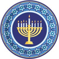 Happy Hanukkah Paper Dinner Plates, 9in, 8ct