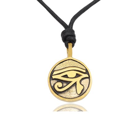 Horus Eye - Classic Egyptian Eye of Ra Horus Gold Brass Charm Necklace Pendant Jewelry With Cotton Cord