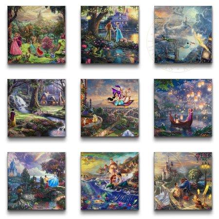 """Thomas Kinkade Disney Princess Collection (Set of 9 Wraps) - 14"""" x 14"""" Gallery Wrapped Canvas"""