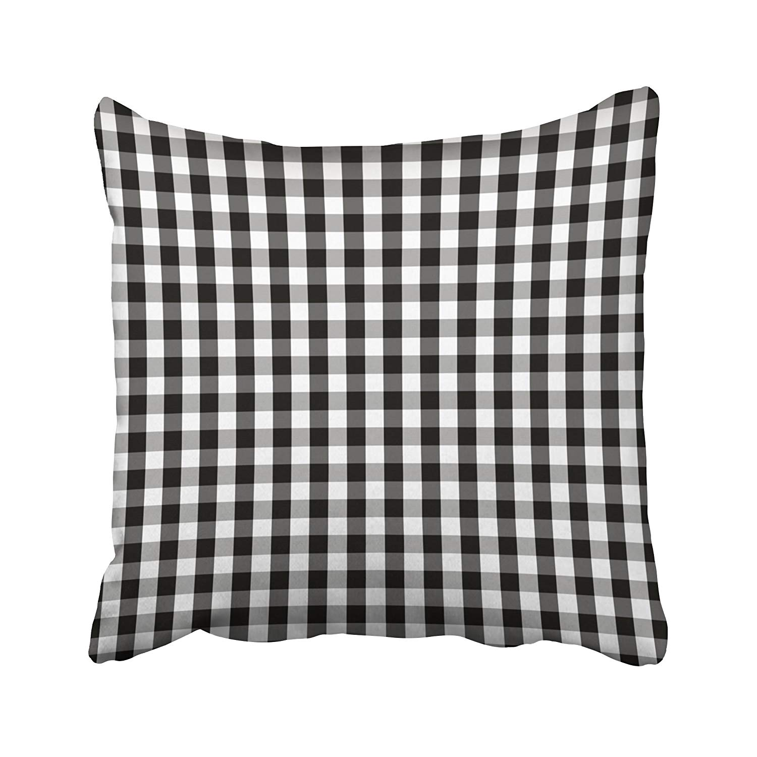 WOPOP Plaid Black And White Buffalo Gingham Pattern With Slight Grain And Checks Pillowcase Cushion Cover 18x18 inch