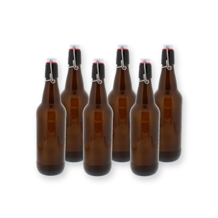Swing Top Bottles w/ Caps - 16.9oz, Amber Glass, Reusable for Homebrew - 6 pack