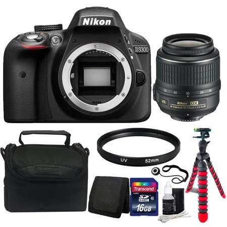 Nikon D3300 24.2MP CMOS Digital SLR Camera with 18-55mm Lens + Top