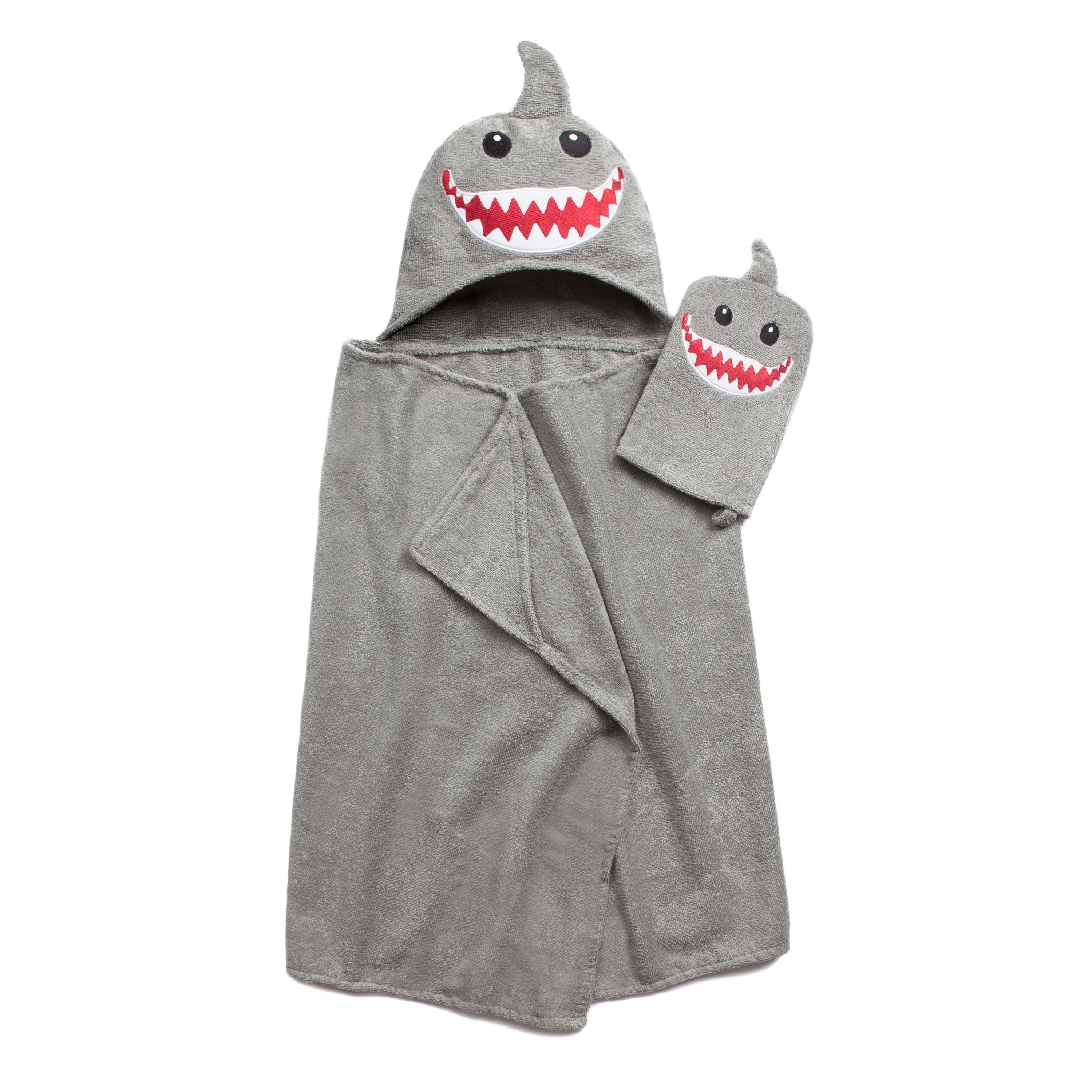 American Dawn Tub Time Tots Shark Hooded Kids Bath Wrap with Mitt by Overstock