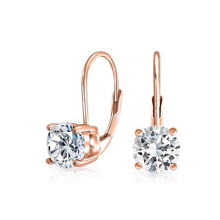 85a25e2f7884a Brilliant Cut 1CT CZ Solitaire Leverback Drop Earrings For Women Cubic  Zirconia Rose Gold Plated 925 Sterling Silver | Walmart Canada