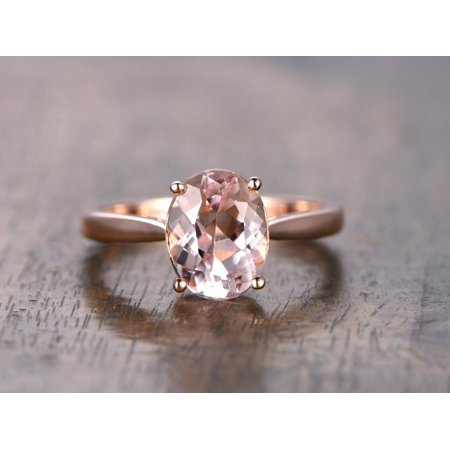 ffab4f7afc165 JeenMata - 1 Carat Oval Cut Solitaire Engagement Ring with Morganite in  Rose Gold - Walmart.com
