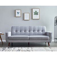 """Gray Upholstered Couch, Mid Century Modern Sectional Fabric Sofa for Small Spaces, Rolled-Arm Loveseat Sofas with Solid Wood Frame, Tufted Loveseat Sofa Couch for Living Room and Office, 79""""W, L1171"""