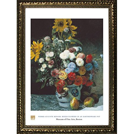 - buyartforless FRAMED Mixed Flowers In An Earthenware Pot by Pierre-Auguste Renoir 32x24 Art Print Poster Floral Still Life Famous Painting From Museum of Fine Arts Boston Collection