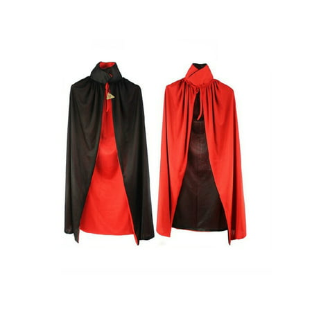 Halloween Cloak Adult 140cm Long Black Red Vampire Dracula Villian Goth Magician XL Cape for Party