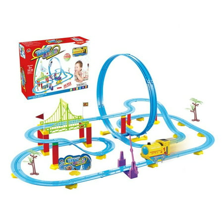 TRAIN TRACK set with bridge, curves and rotation orbit 119 - Pink Train Track