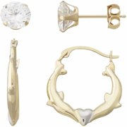 Simply Gold 10kt Yellow Gold 6mm Cubic Zirconia Stud And Kissing Dolphins Round Hoop Earrings Set