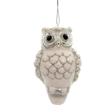 Holiday Ornaments SPARKLE OWL Glass Bird Christmas Wisdom 6002669 ()