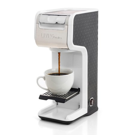 LIVINGbasics™ 2 in 1 Single Serve Coffee Maker Coffee Brewer, Compatible with K-Cup Pods or Ground Coffee, Slim Design, Portable and Easy to Use (White) - image 8 de 8