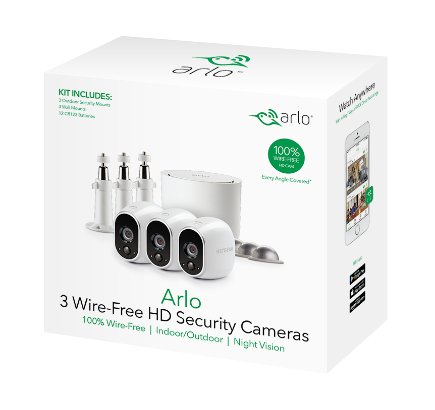 Arlo 720P HD Security Camera System VMS3330W - 3 Wire-Free Cameras Wiring Security Cameras on security camera supports, security camera mounting parts, security camera building, security camera fittings, security camera painting, security camera junction boxes, security camera adapters, security camera cables, security camera schematics, security camera bulbs, security camera conduit, security camera mounting base, security camera filter, security camera features, security camera voltage, security camera software, security camera pinout, security camera furniture, security camera components, security camera sensor,