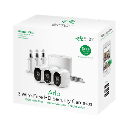 Arlo 720P HD Security Camera System VMS3330W - 3 Wire-Free Cameras with 3 Additional Wall Mounts and 3 Outdoor Mounts, Indoor/Outdoor, Night Vision, Motion (Best Home Security System Australia 2019)